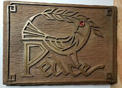 Vintage Mid Century Modern Peace Dove Wall Plaque by RS $49.99