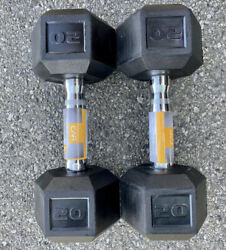 🔥 New 20 lb Pair CAP Hex Rubber Coated Dumbbells Set Total 40 lbs Pounds 🔥 $94.99