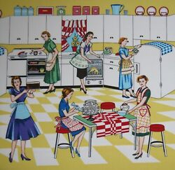 Michael Miller Retro Kitchen fabric HOME EC sold by the yard. $10.49