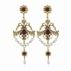 Unique amp; Beautiful Victorian Era Pearl amp; Red Lucite Chandelier Earrings $12.99