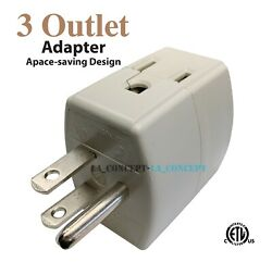 3 Outlet Indoor Grounded AC Power 3 Prong Adapter Plug Wall Tap ETL Listed $5.67