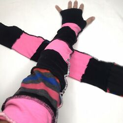 Long Rainbow Gloves Pink Striped Arm Warmers Black Sally Costume Socks Rave Psy $34.00