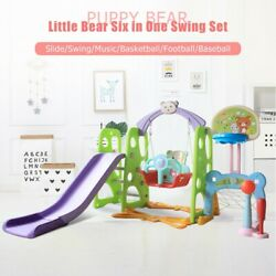 6 In 1 Kids Indoor And Outdoor Slide Swing And Basketball Football Baseball Sets $151.99
