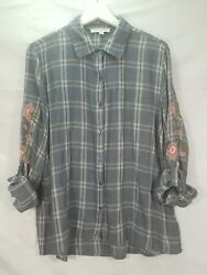 Harper Womens Gray Plaid Floral Sleeve Button Top Size M Soft Comfortable $16.50