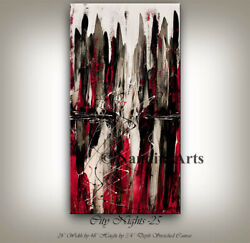 City Scape Abstract Red Painting Framed Contemporary Large Wall Art Decor $398.00