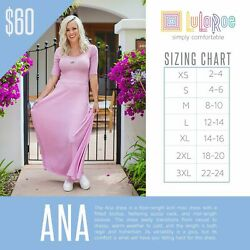 LulaRoe Ana Maxi Women#x27;s Dress Solid colors M L XL all New With Tags $24.99