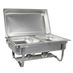 8 Quarts Foldable Frame Buffet Chafer Set Silver Countertop Stainless Steel $66.92