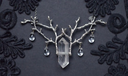 Quartz Raw Crystal and Branch Twig Antler Woodland Ethereal Natural Necklace $4.39