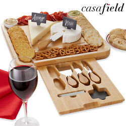 Bamboo Cheese Board Gift Set Wooden Charcuterie Serving Tray w Bowls amp; Knives $25.99