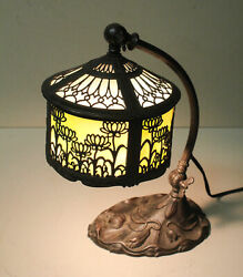 Antique Slag Glass Goose Neck Office or Piano Lamp $925.00