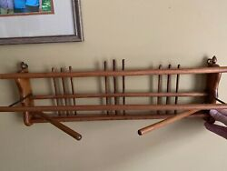 Vintage Unique Kitchen Towel Drying Wall Rack Folds Wood $140.79