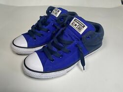 Converse All Star Youth Boys Navy Blue White Chuck Taylor Axel Mid Sneaker Sz:3 $29.00
