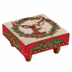 Holiday Deer Tapestry Design Traditional Brass Tack Footstool $29.99