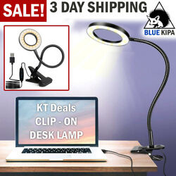 Clip On Desk Lamp LED Flexible Arm USB Dimmable Study Reading Table Night Light $13.99