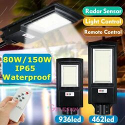 99000LM 150W Commercial LED Solar Street Light Motion Sensor Dusk to DawnRemote