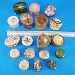 Small Lidded Vintage Boxes Mixed Lot Pill Hinged Stone Ceramic Shell Metal $135.00