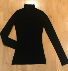 SWEET PEA by Stacy Frati BLACK MOCK TURTLENECK TOP Two Layer Mesh Women's Medium $22.50