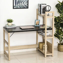 Modern Wooden Writing Desk Workstation with Book Shelf Display Stand $59.99