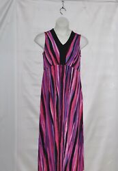 Bob Mackie Regular Striped Maxi Dress Size 1X Fuchsia Multi $27.99