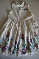 Peek Girls Dress size 10 White with Embroidery Details Sleeveless $14.98