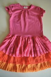 Hanna Andersson Girls Dress size 130cm US size 7 10 Hot Pink Tiered $14.98