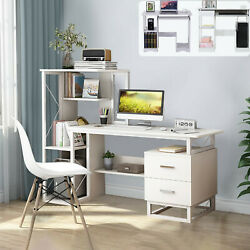 Computer Desk With Drawers and Bookcase Shelf Compact Desk For Home Office Desk $55.85