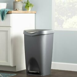 Rayle Plastic Trash Can 13 Gallon Step Garbage Kitchen Stainless Bin Waste Easy $85.00