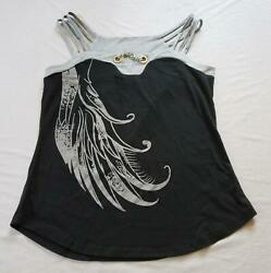 Order Plus Women#x27;s Plus Strappy Tank Top Embellished Chain AM1 Black Gray Large $10.49