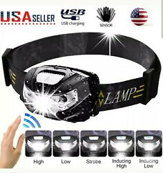 LED Headlamp USB Rechargeable Flashlight Waterproof Head Lamp Torch Camping Gift $10.73
