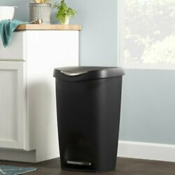 Rayle Plastic Trash Can 13 Gallon Step Garbage Kitchen Stainless Bin Waste Black $85.00