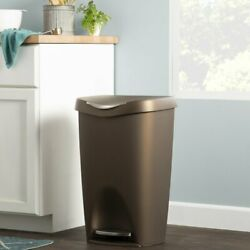 Rayle Plastic Trash Can 13Gallon Step Garbage Kitchen Stainless Bin Waste Bronze $85.00
