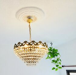 ✨16.5quot; REWIRED Vintage 4 Light 7 Tier Crystal Chandelier French Spanish European $250.00