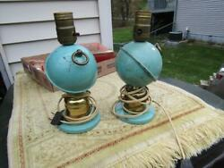 Vintage Lamps Set Metal Blue with Ball 9quot; Tall Should Be Rewired $29.99