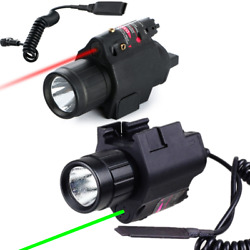 Tactical Combo LED Flashlight Red Green Laser Sight Fits 20mm Rail Pistol Rifle $28.99