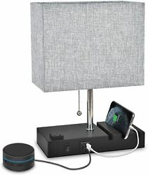 Bedside Table Lamp 3 Phone Stand Modern Lamp with Dual USB Port AC Outlet $32.99