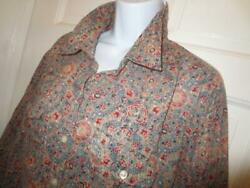 RALPH LAUREN Womens Plus BOHO Gypsy FLORAL 100% Cotton SHIRT W Pockets Size 1X $49.99