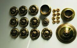 LOT Heavy Brass Chandelier Bobeches Ceiling Rose Drip Dishes Parts Repair $68.00