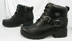 Harley Davidson Women#x27;s Tegan Lug Sole Zip Up Boots BF5 Black D84424 Size US:10 $98.99
