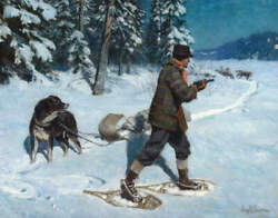 Woodsman in Snowshoes with Dogs by Phillip R Goodwin $16.95