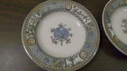 4 Antique Antique Satsuma Aesthetic BGamp;W Bird Motif Bamboo Floral Cross Plates $74.99