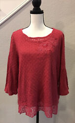 Alfred Dunner Women Knit Coral Pullover Sweater 3 4 Sleeve Embroidery Crochet XL $22.10