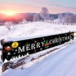 Merry Christmas Banner Black Large Signs Yard Wall Party Home Décor Garlands $18.72