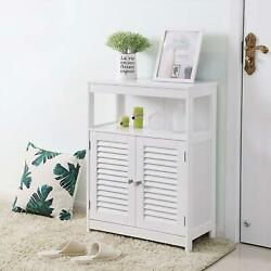Bathroom Storage Cabinet Floor with Adjustable Shelf and Double Shutter Door $60.90