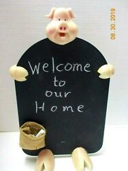 Vintage PIG CHALK BLACK BOARD by Novelty 13quot; tall with Pouch Excellent Condition $9.99