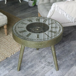 Antique gold working clock coffee table vintage rustic living room furniture $330.66