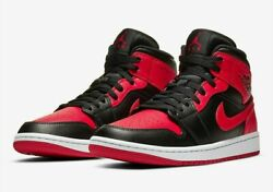 Nike Air Jordan 1 mid Banned Black red BRED Men amp; GS SIZES 3.5y 14 $189.99