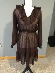 Long Sleeve Ruffle Purple Dress With Slip SZ 4 $21.70