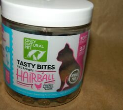 NEW ONLY NATURAL PET TASTY BITES CAT TREATS *HAIRBALL* CHICKEN CREAM #PAL273 $5.06