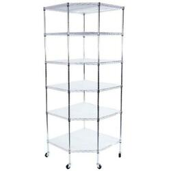 6 Tier Commercial Wire Shelving Unit Garage Iron Shelf Corner Rack w Wheels US