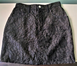 BLACK LACE MINI SKIRT SIZE 29 = 8 GUESS BY GEORGES MARCIANO PRE OWNED FAST SHIP $19.99